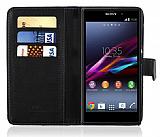 Sony Xperia Z1 C�zdanl� Siyah K�l�f
