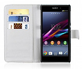 Sony Xperia Z1 C�zdanl� Beyaz K�l�f