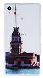Sony Xperia Z1 Ta�l� K�zkulesi Ultra �nce Silikon K�l�f