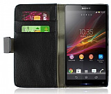 Sony Xperia Z1 Standl� C�zdanl� Siyah Deri K�l�f