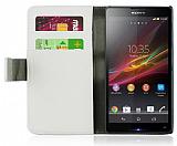Sony Xperia Z1 Standl� C�zdanl� Beyaz Deri K�l�f