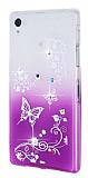 Sony Xperia Z1 Ta�l� Mor Kelebek Silikon K�l�f