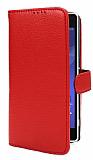 Sony Xperia Z2 Cüzdanlı Yan Kapaklı Kırmızı Deri Kılıf