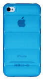 iPhone 4 / 4S Bubble �effaf Mavi Silikon K�l�f