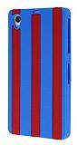 Sony Xperia Z1 Bordo Çizgili Silikon Kılıf