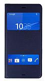 Sony Xperia Z3 Çift Pencereli İnce Kapaklı Koyu Mavi Kılıf