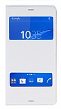 Sony Xperia Z3 Çift Pencereli İnce Kapaklı Beyaz Kılıf