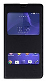 Sony Xperia T3 Çift Pencereli İnce Kapaklı Siyah Kılıf