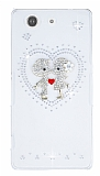 Sony Xperia Z3 Compact Love Taşlı Şeffaf Rubber Kılıf