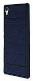 Sony Xperia Z3 Plus Ahşap Görünümlü Lacivert Rubber Kılıf