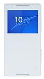 Sony Xperia Z3 Plus Pencereli İnce Yan Kapaklı Beyaz Kılıf