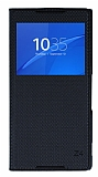 Sony Xperia Z3 Plus Pencereli �nce Yan Kapakl� Siyah K�l�f