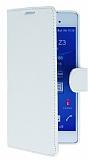 Sony Xperia Z3 Plus Standlı Cüzdanlı Beyaz Deri Kılıf