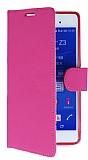 Sony Xperia Z3 Plus Standlı Cüzdanlı Pembe Deri Kılıf