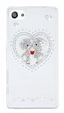 Sony Xperia Z5 Compact Taşlı Love Şeffaf Rubber Kılıf