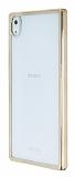 Sony Xperia Z5 Gold Kenarlı Şeffaf Rubber Kılıf