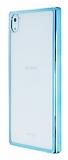 Sony Xperia Z5 Mavi Kenarlı Şeffaf Rubber Kılıf