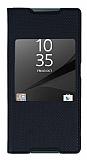 Sony Xperia Z5 Pencereli İnce Kapaklı Siyah Kılıf