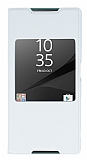 Sony Xperia Z5 Pencereli İnce Kapaklı Beyaz Kılıf