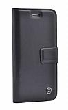 Sony Xperia Z5 Premium Cüzdanlı Yan Kapaklı Siyah Deri Kılıf