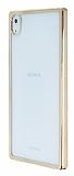 Sony Xperia Z5 Premium Gold Kenarlı Şeffaf Rubber Kılıf