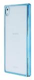 Sony Xperia Z5 Premium Mavi Kenarlı Şeffaf Rubber Kılıf