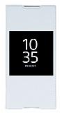 Sony Xperia Z5 Premium Pencereli İnce Kapaklı Beyaz Kılıf