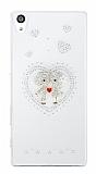 Sony Xperia Z5 Premium Love Taşlı Şeffaf Rubber Kılıf
