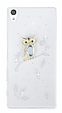 Sony Xperia Z5 Premium Baykuş Taşlı Şeffaf Rubber Kılıf
