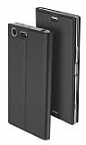 Sony XZ Premium Cüzdanlı Yan Kapaklı Dark Silver Deri Kılıf