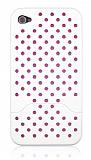 iPhone 4 / 4S Geçmeli Pembe Korumalı Beyaz Delikli Kılıf