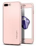 Spigen Air Fit 360 iPhone 7 Plus Rose Gold Kılıf + 2xTempered Glass Cam Koruyucu