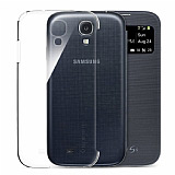 Spigen Samsung i9500 Galaxy S4 Flip Cover Uyumlu �effaf Arka Kapak