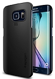 Spigen Thin Fit Galaxy S6 Edge Siyah Rubber K�l�f