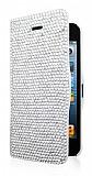 iPhone SE / 5 / 5S Taşlı Standlı Beyaz Kılıf