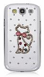 Swarovski Ta�l� Samsung i9300 Galaxy S3 Kedi Sert Rubber K�l�f