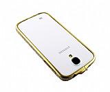 Taşlı Samsung i9500 Galaxy S4 Gold Çerçeve Kılıf