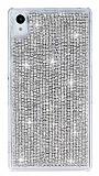 Sony Xperia Z1 Taşlı Silver Rubber Kılıf