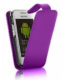 Samsung S5253 Wave 525 Mor Kapakl� Deri K�l�f