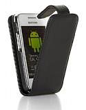 Samsung S5253 Wave 525 Siyah Kapakl� Deri K�l�f