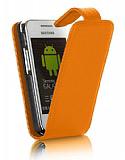 Samsung S5253 Wave 525 Turuncu Kapakl� Deri K�l�f