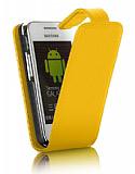 Samsung C3300K Champ Sarı Kapaklı Deri Kılıf