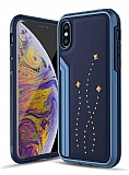 TGViS Luxury Rivet iPhone XS Max Ultra Koruma Lacivert Kılıf