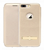 Totu Design Acme Series iPhone 7 Plus / 8 Plus Standlı Kapaklı Gold Kılıf