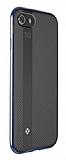Totu Design Blade iPhone 7 / 8 Lacivert Metal Kenarlı Silikon Kılıf