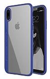 Totu Design Crystal iPhone X / XS Silikon Kenarlı Lacivert Rubber Kılıf