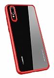 Totu Design Crystal Serisi Huawei P20 Pro Kırmızı Silikon Kenarlı Şeffaf Kılıf