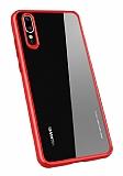 Totu Design Crystal Serisi Huawei P20 Kırmızı Silikon Kenarlı Şeffaf Kılıf