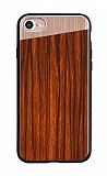 Totu Design Diagonal iPhone 7 / 8 Ahşap Görünümlü Rose Gold Kılıf