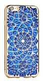 Totu Design Diamond iPhone 6 / 6S Rose Gold Kenarl� Ta�l� Lacivert Silikon K�l�f